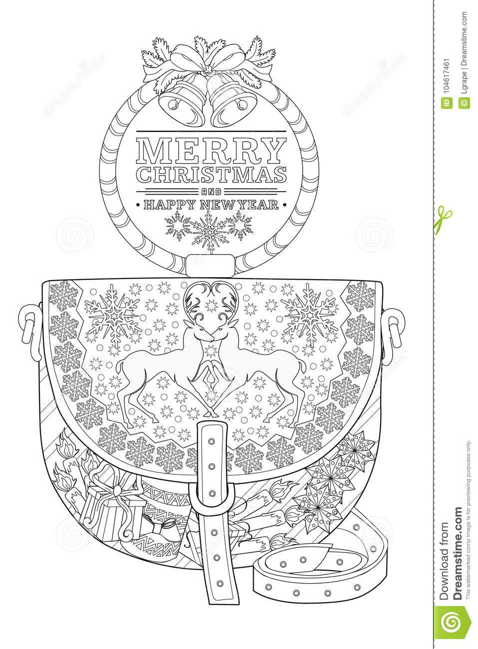 Download Coloring Page For Adults Christmas Bag Stock Vector