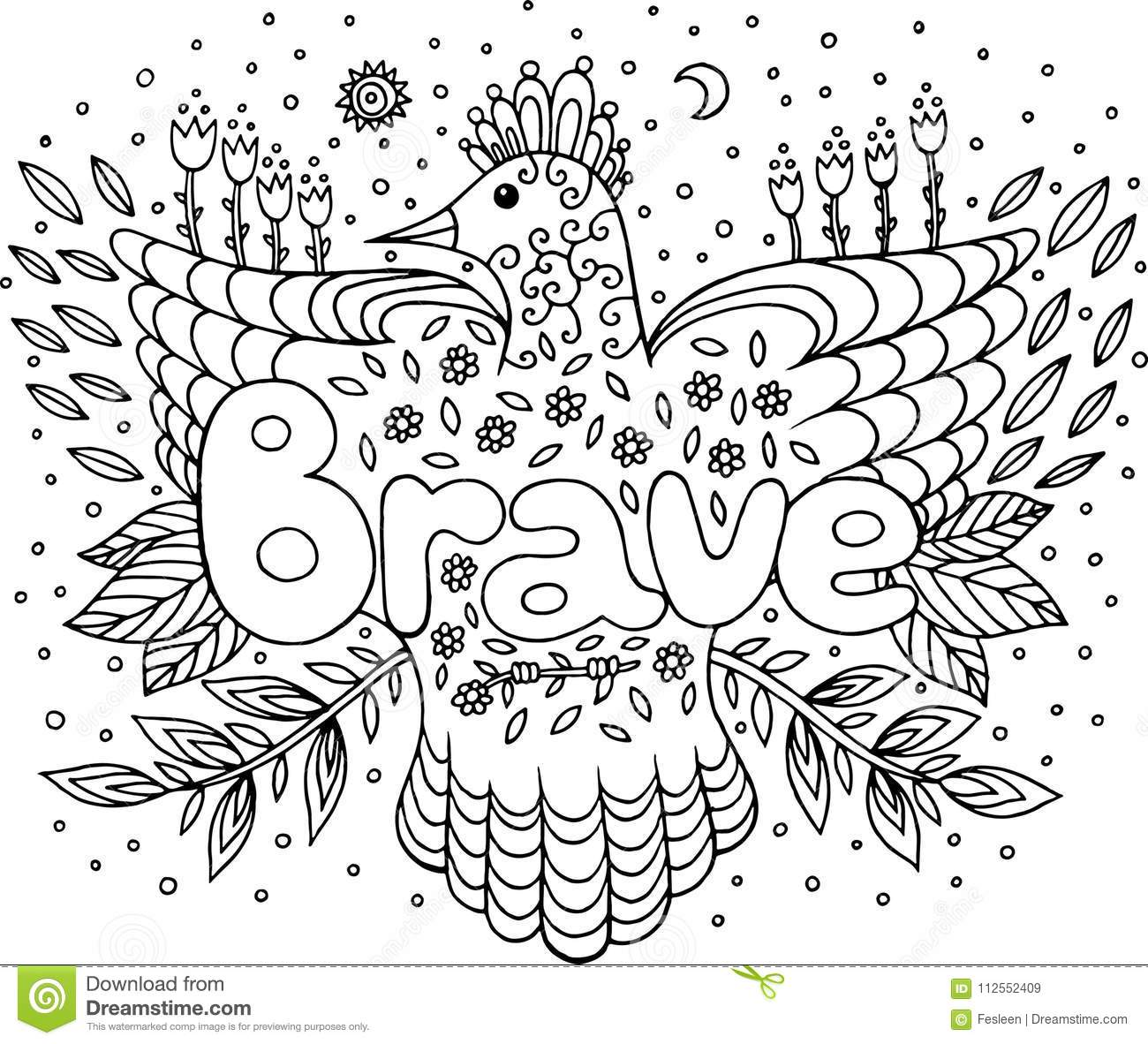 coloring page for adults with mandala and brave word