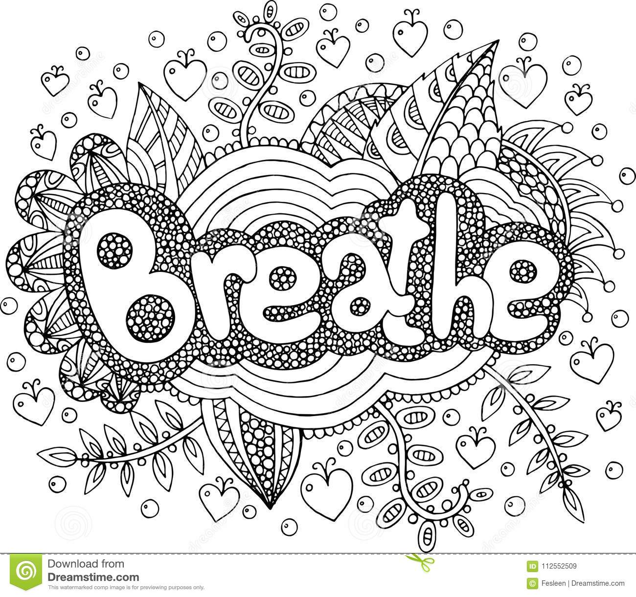 Coloring Page For Adults With Mandala And Breathe Word. Doodle L ...