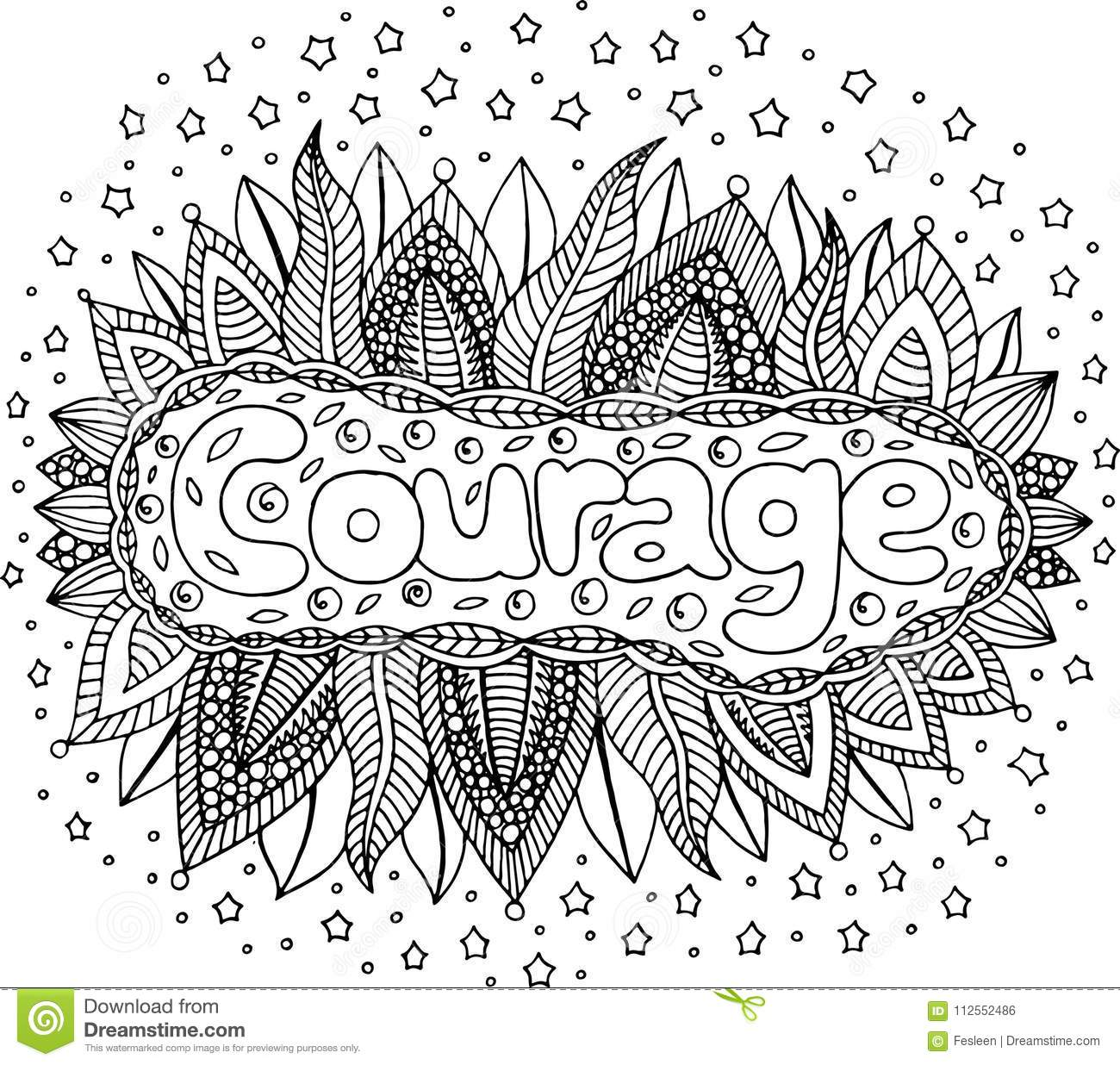 Coloring Page For Adults With Mandala And Courage Word ...