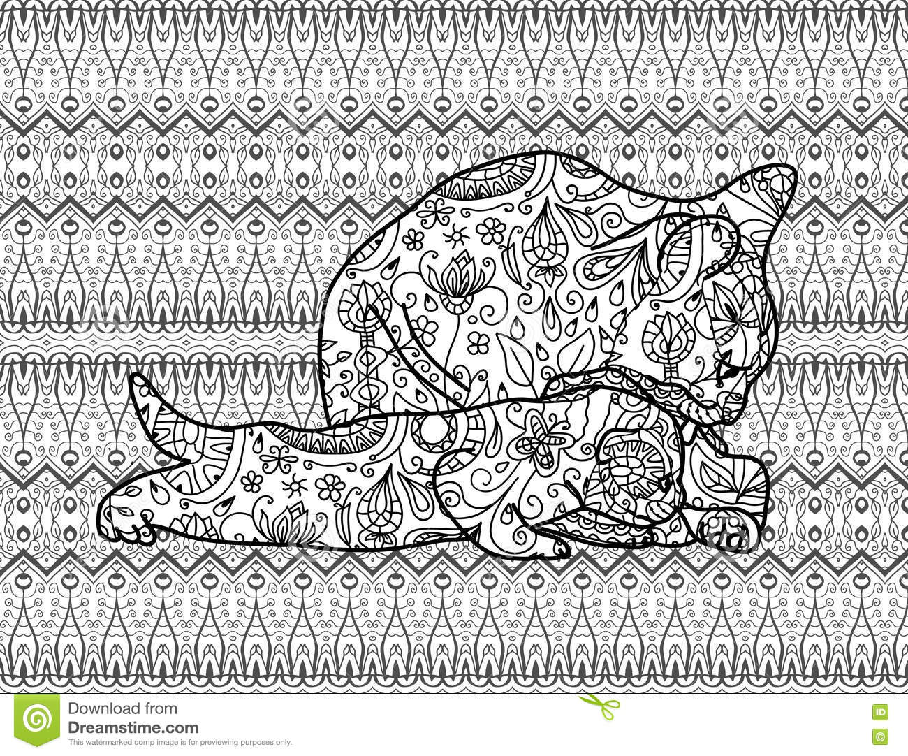 coloring page for adults mother cat with a kitten line art stock