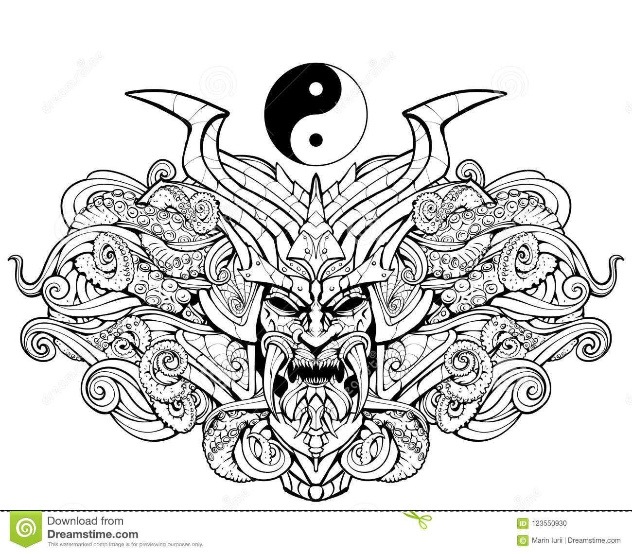 Coloring Page For Adults Sinister Samurai Mask