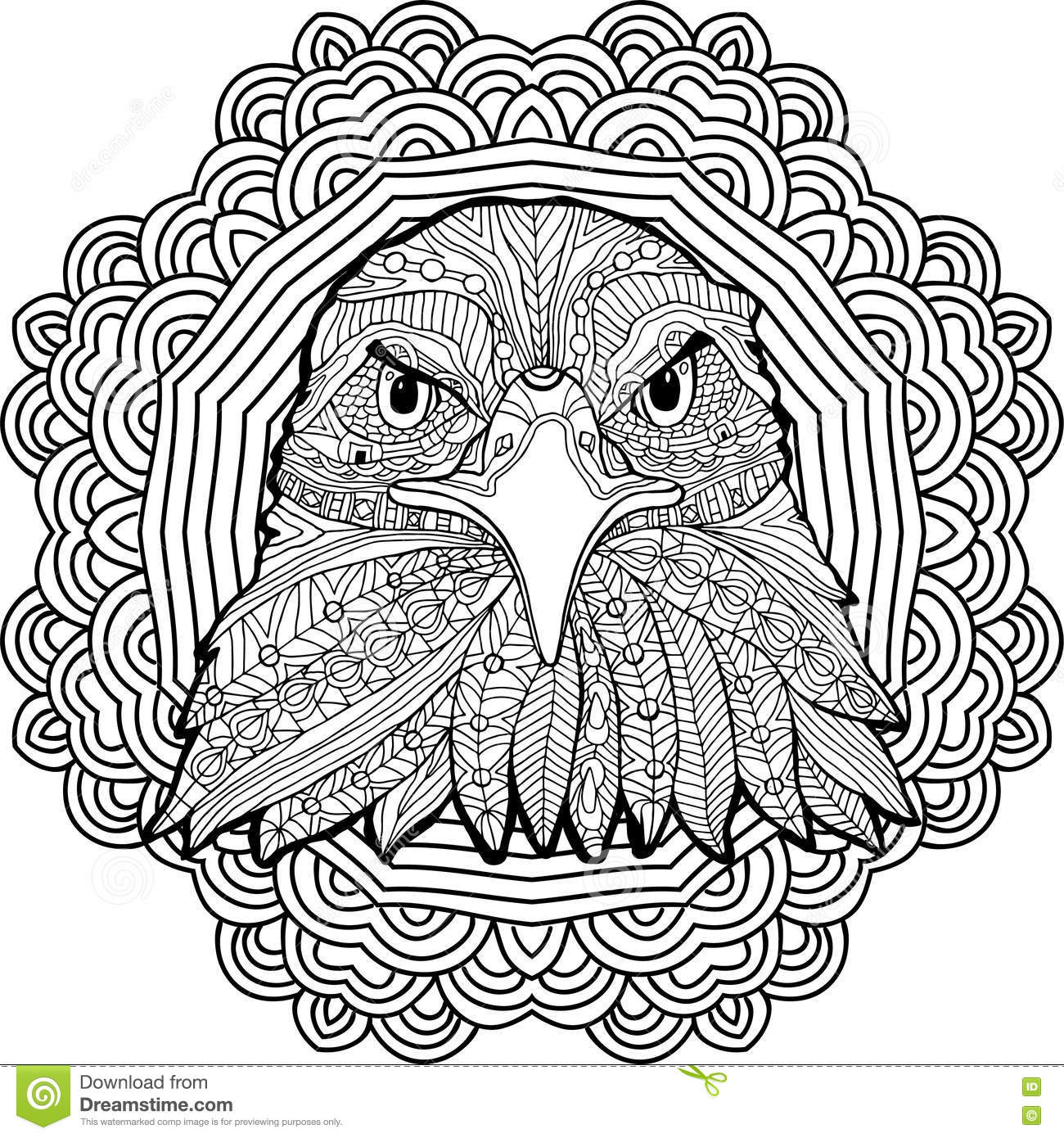 Coloring Page For Adults Stern Eagle On A Background Of A Circular
