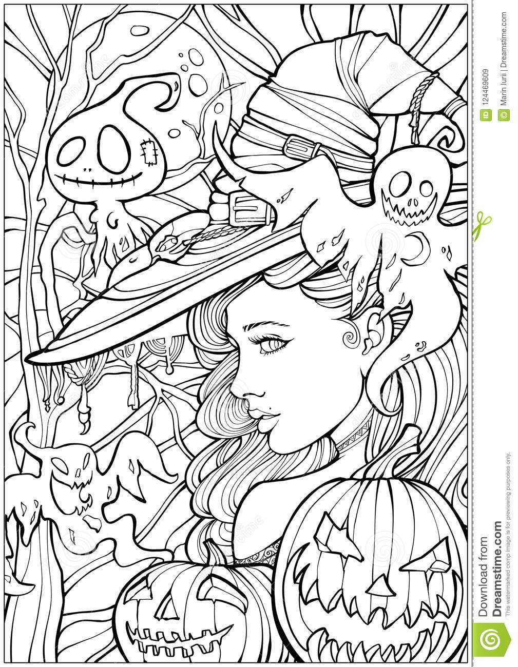 Witch Surrounded By Friendly Ghosts Stock Illustration ...