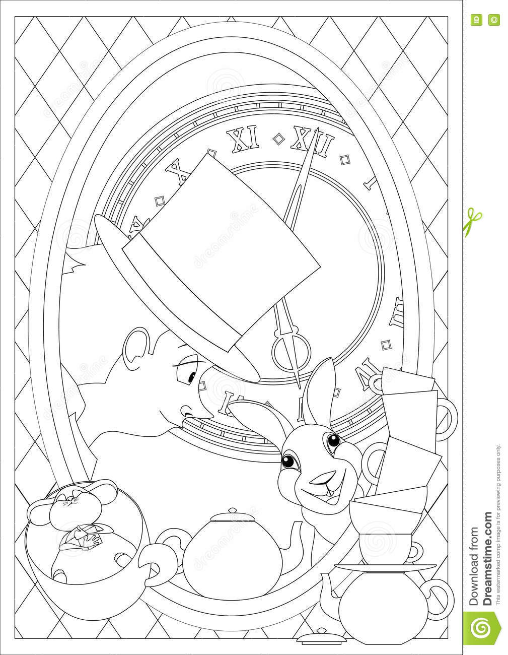 Coloring Page. Alice In Wonderland. Mad Tea Party. Stock Vector ...