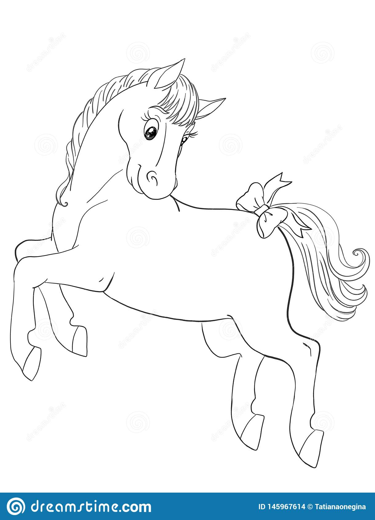Graphic Art For A Coloring Book With Beautiful Horse Jumping