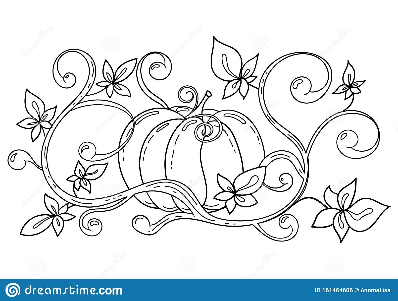 Coloring Page With Autumn Halloween Pumpkin Stock Vector Illustration Of Flora Childish 161464606