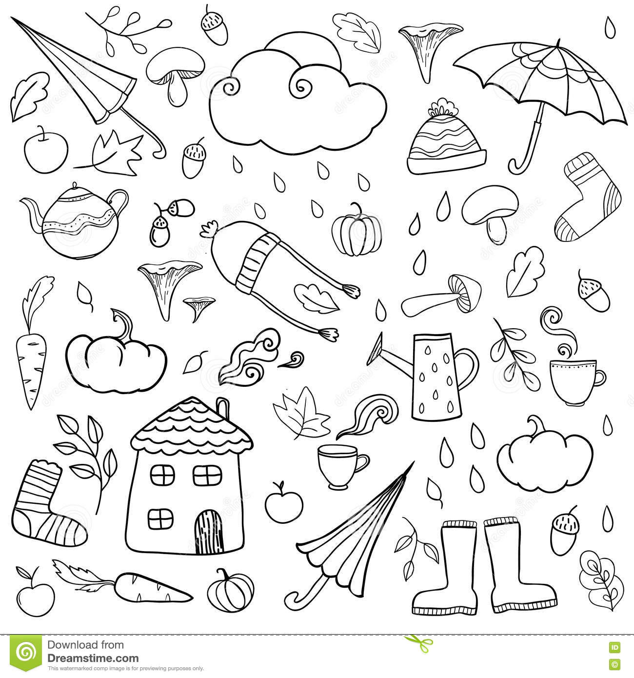 coloring page with autumn icons stock vector image 80813907