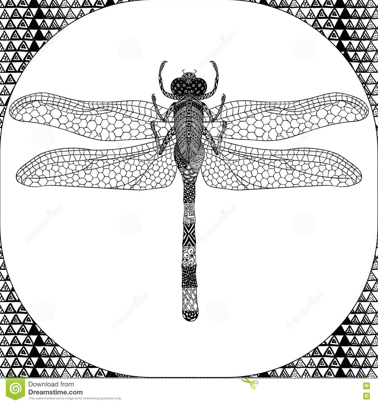 Coloring Page Of Balck Dragonfly, Zentangle Illustartion Stock ...