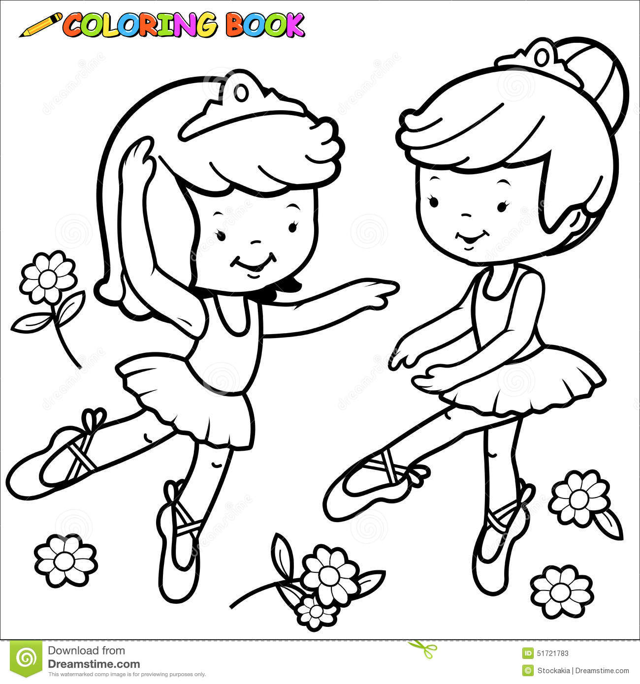 43 And White Outline Image Of Two Cute Ballerina Dancer Girls Dancing Disney Princess Coloring Pages