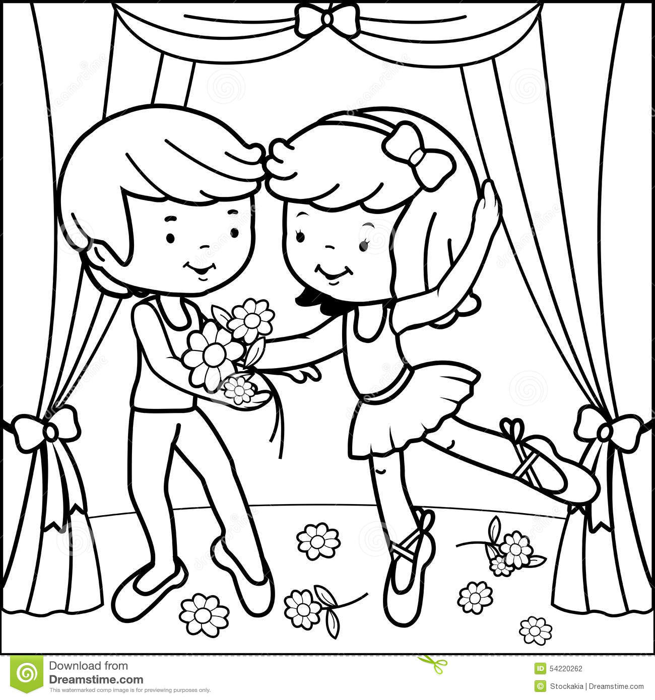 Royalty Free Vector Download Coloring Page Ballet Dancers