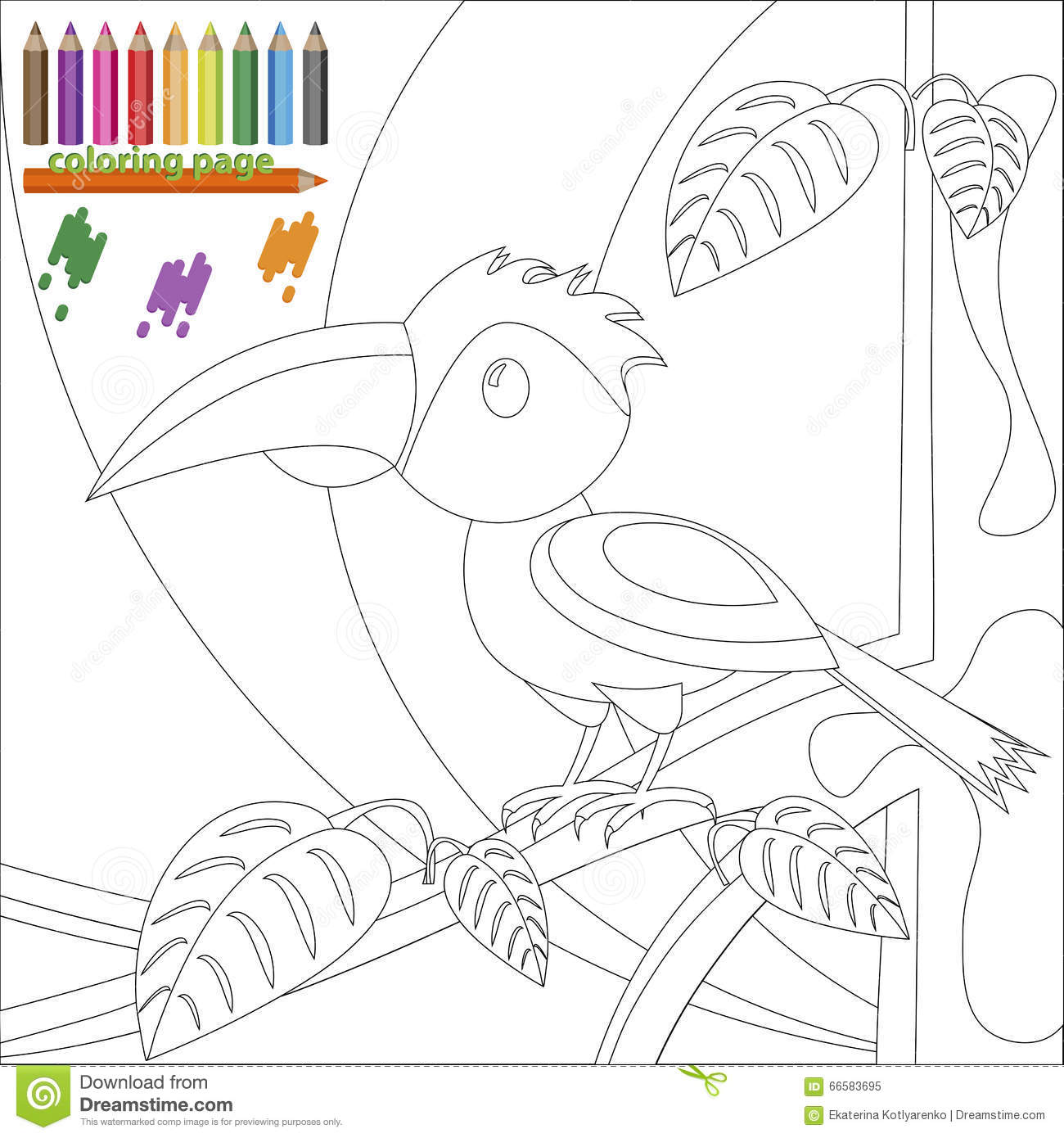 Bird Book Coloring Page Tree