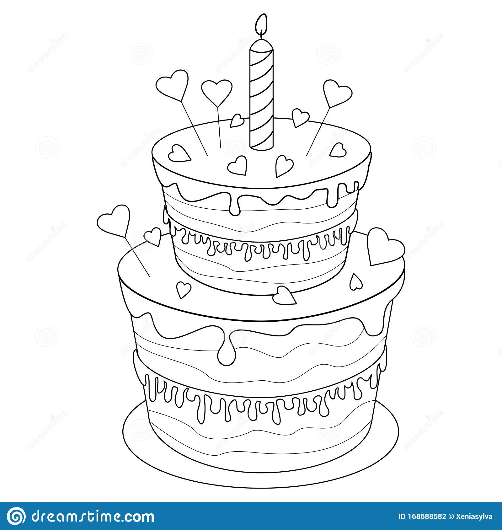 Stupendous Coloring Page Birthday Cake Stock Vector Illustration Of Funny Birthday Cards Online Alyptdamsfinfo