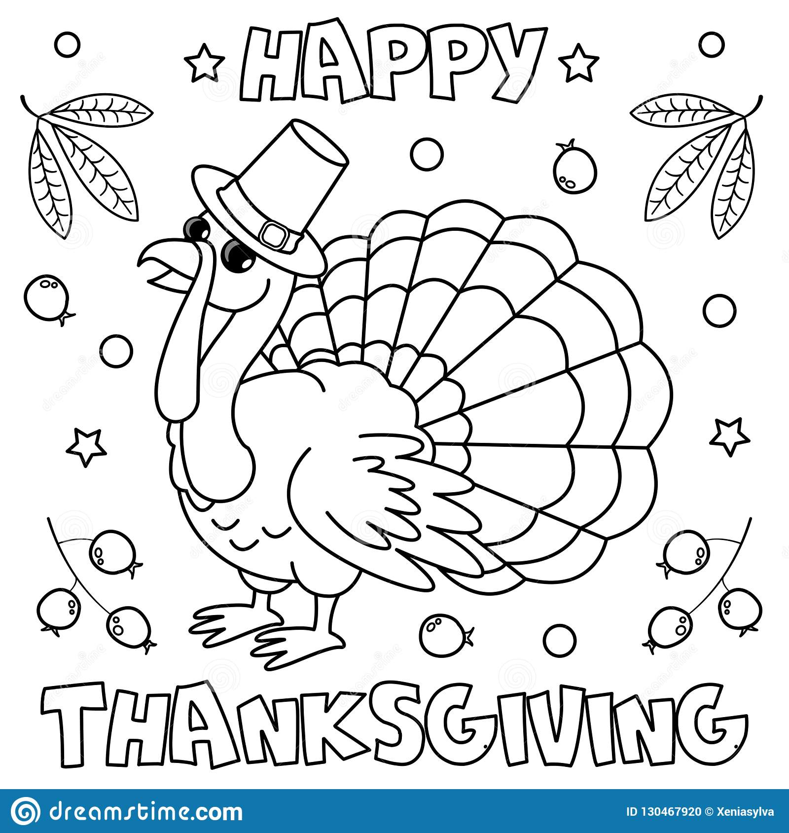Coloring Page `Happy Thanksgiving`. Stock Vector ...