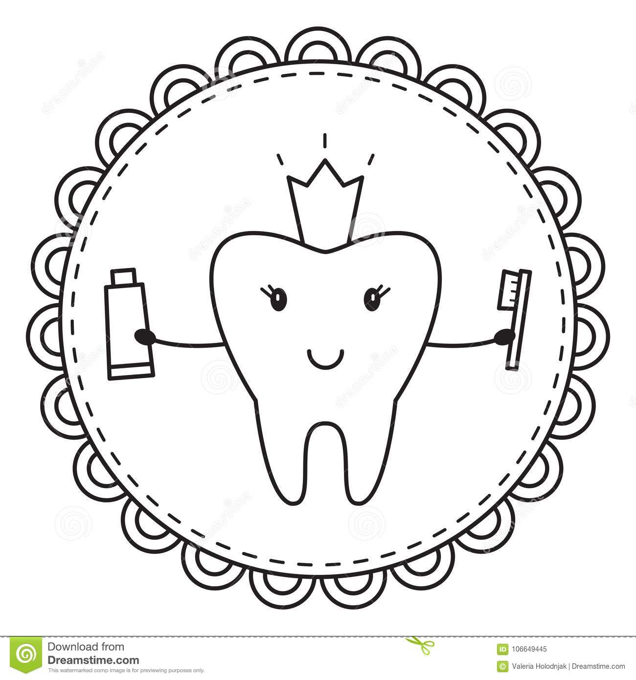 Tooth. Coloring Page. Vector Illustration. Stock Vector ...