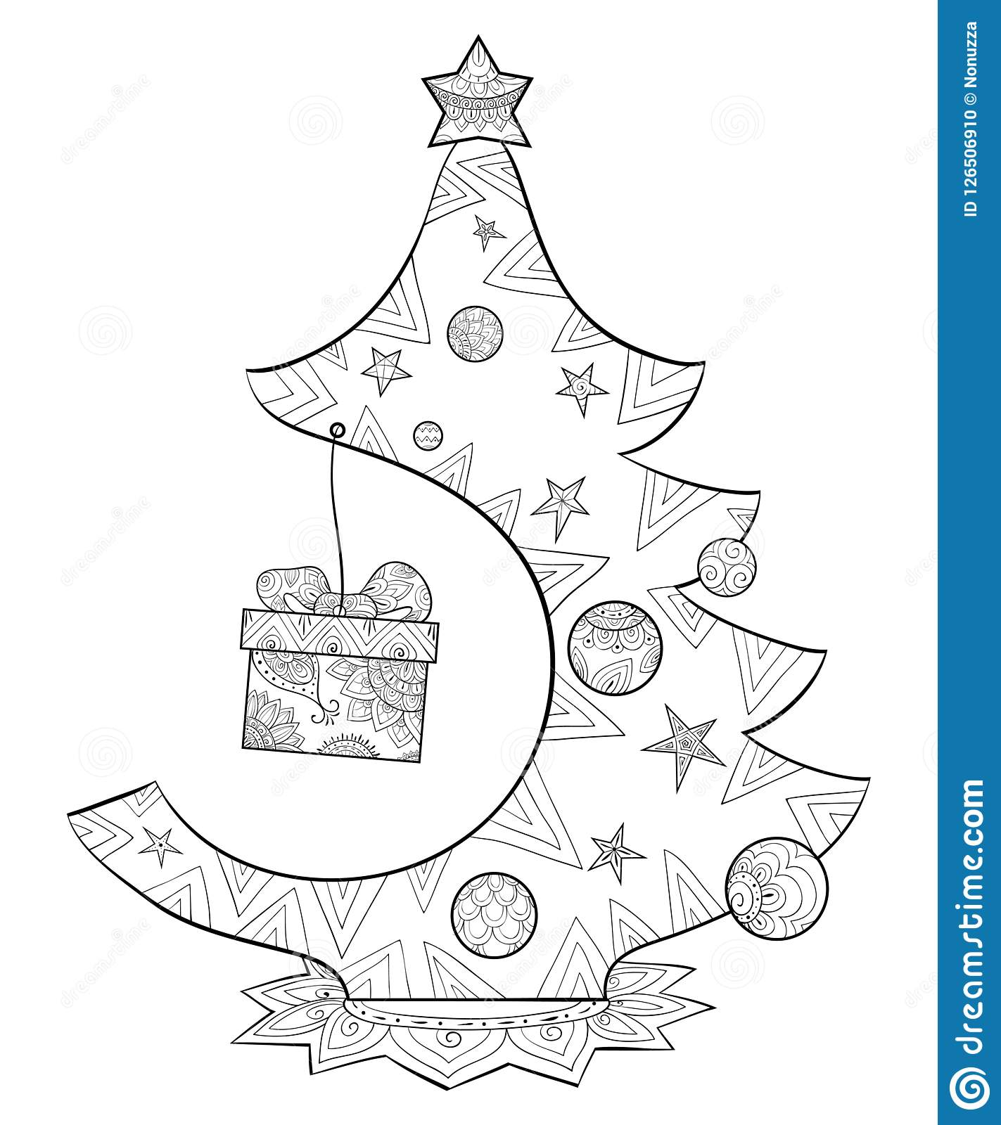 A Coloring Page,book For Adults And Children,a Cute Christmas Fir ...