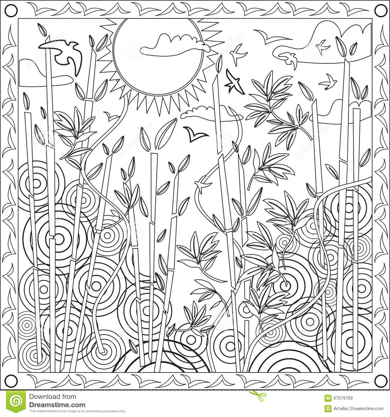 Coloring Page Book For Adults Square Format Bamboo Japanese Design ...