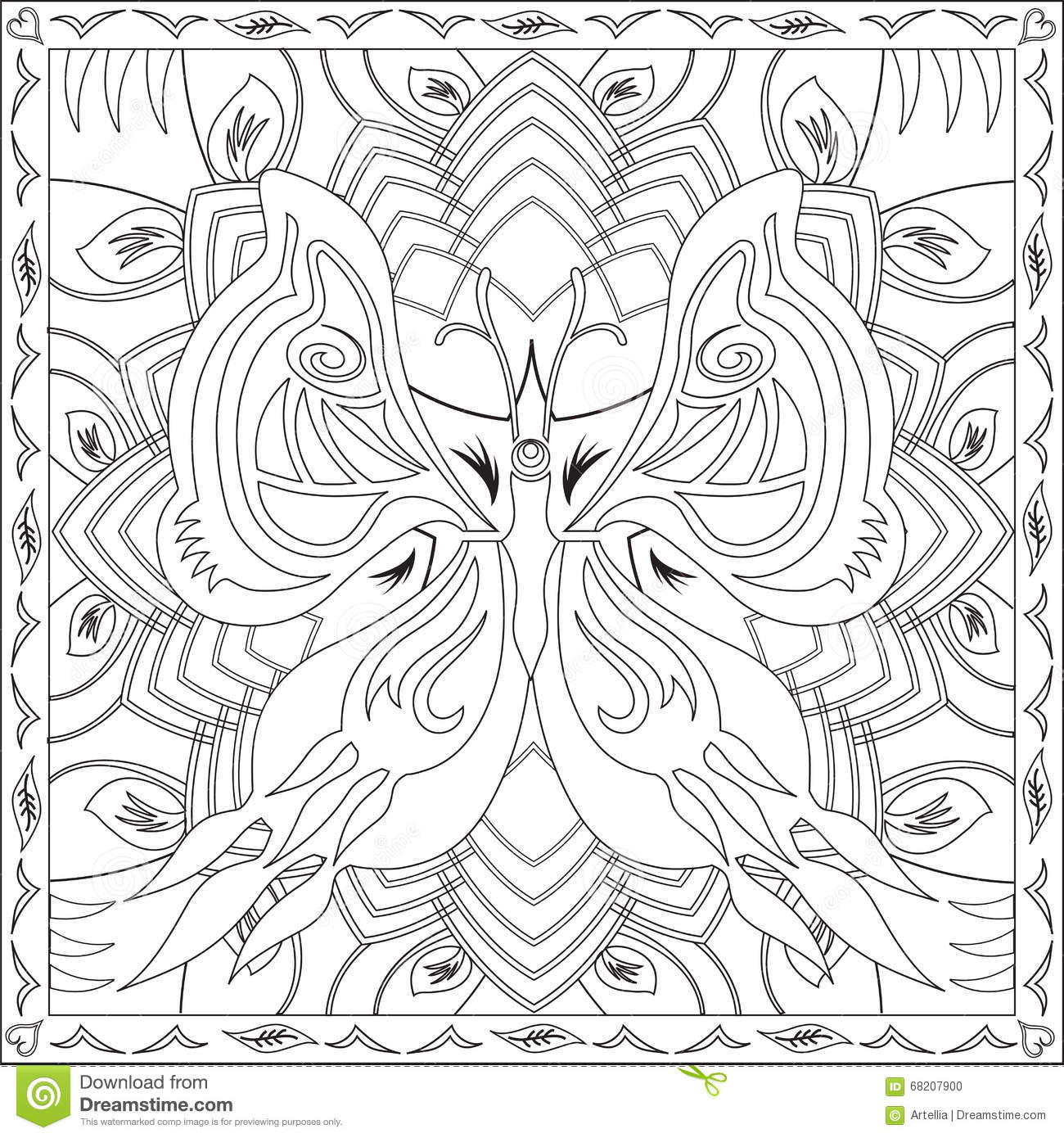 vector square mandala pattern as example for coloring book for