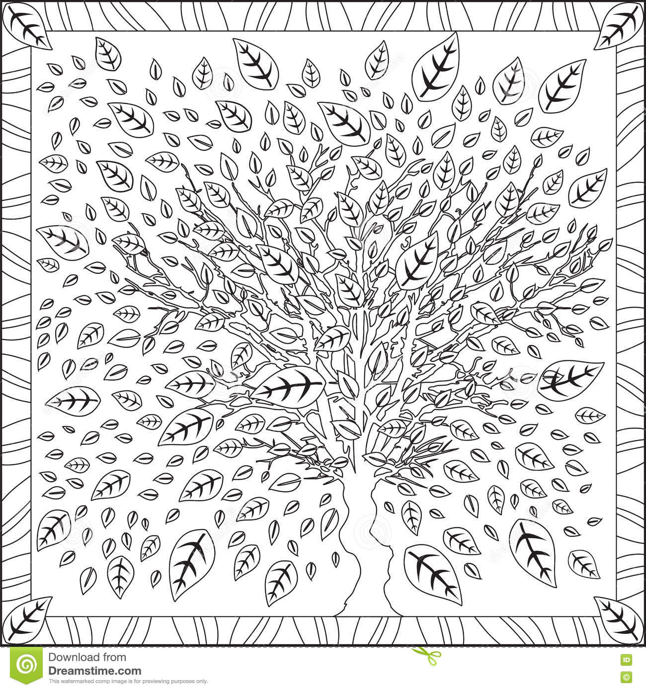 Coloring pages for adults tree - Coloring Page Book For Adults Square Format Tree Leaves Foliage Design Vector Illustration Stock Vector