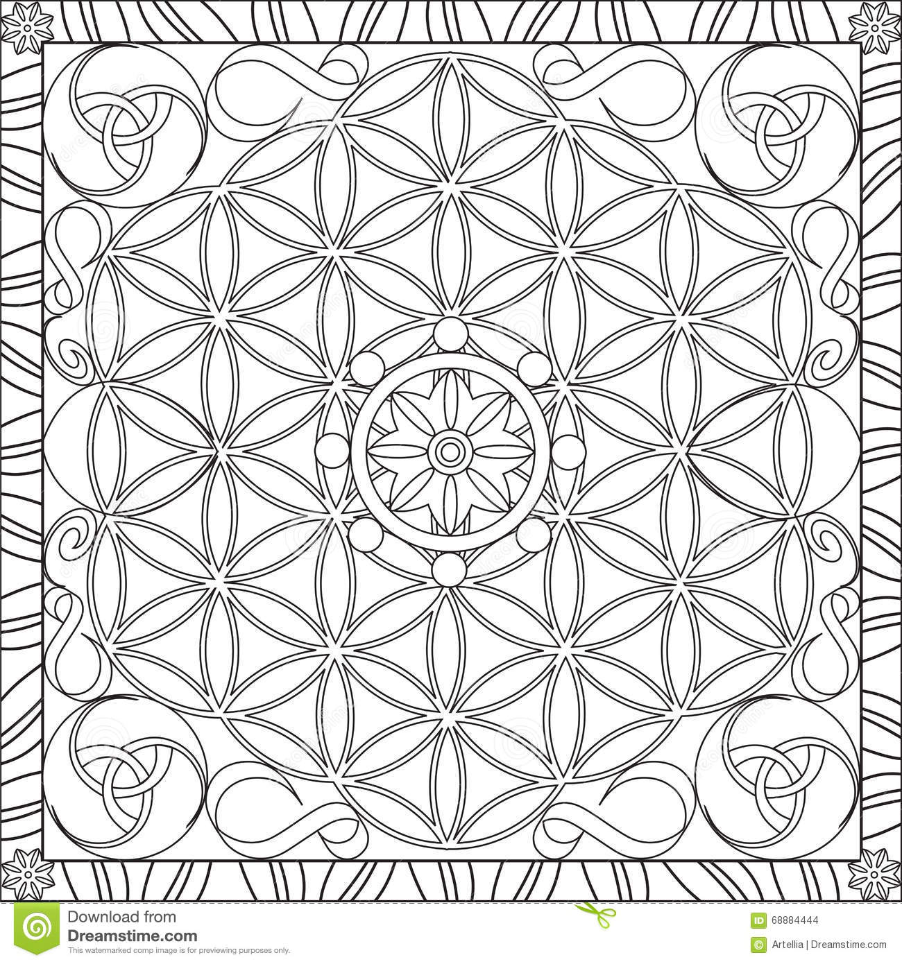 Book of life for coloring - Coloring Page Book For Adults Square Format Flower Of Life Mandala Design Vector Illustration