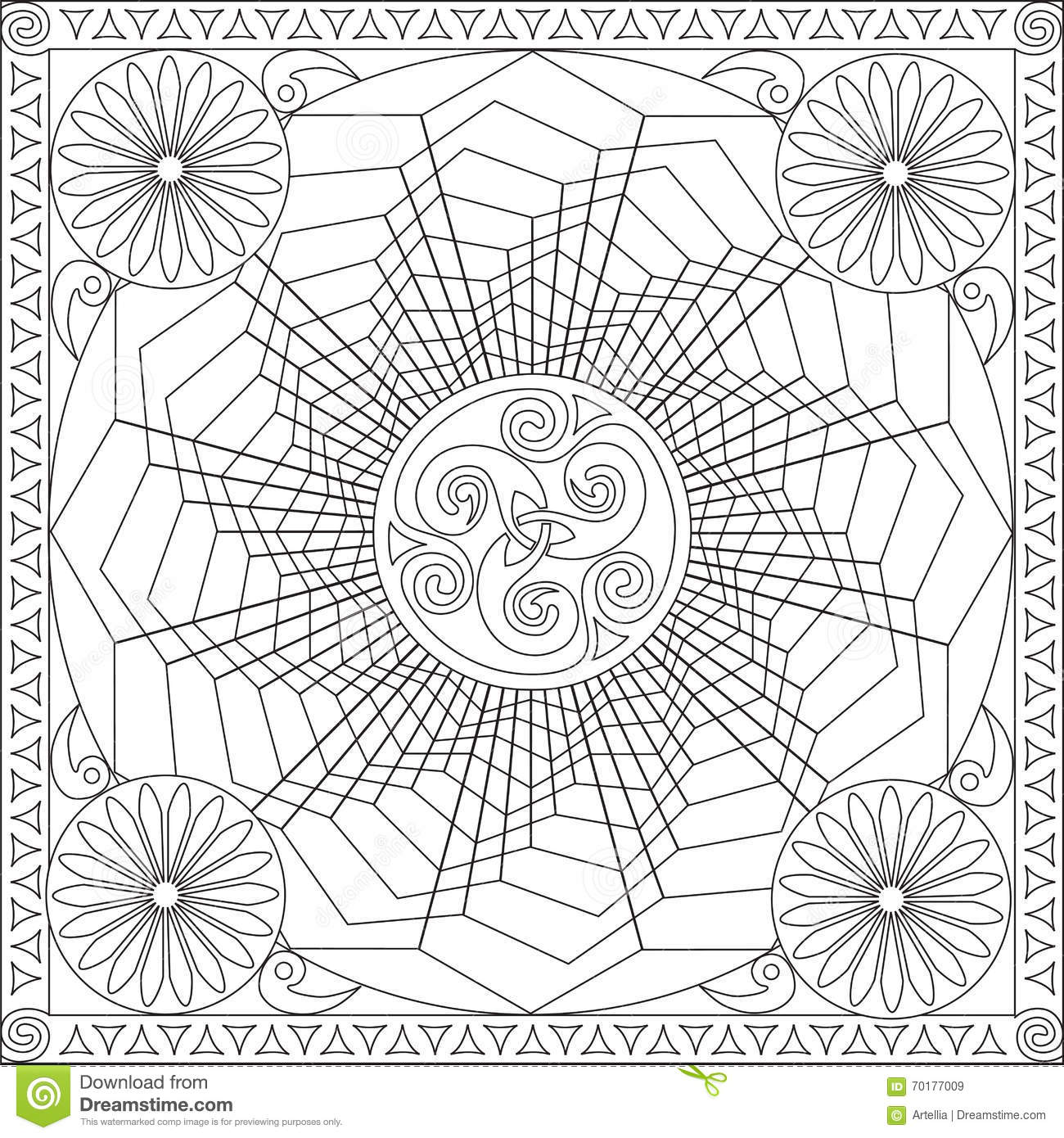Coloring Page Book for Adults Square Format Geometric Flower Mandala ...