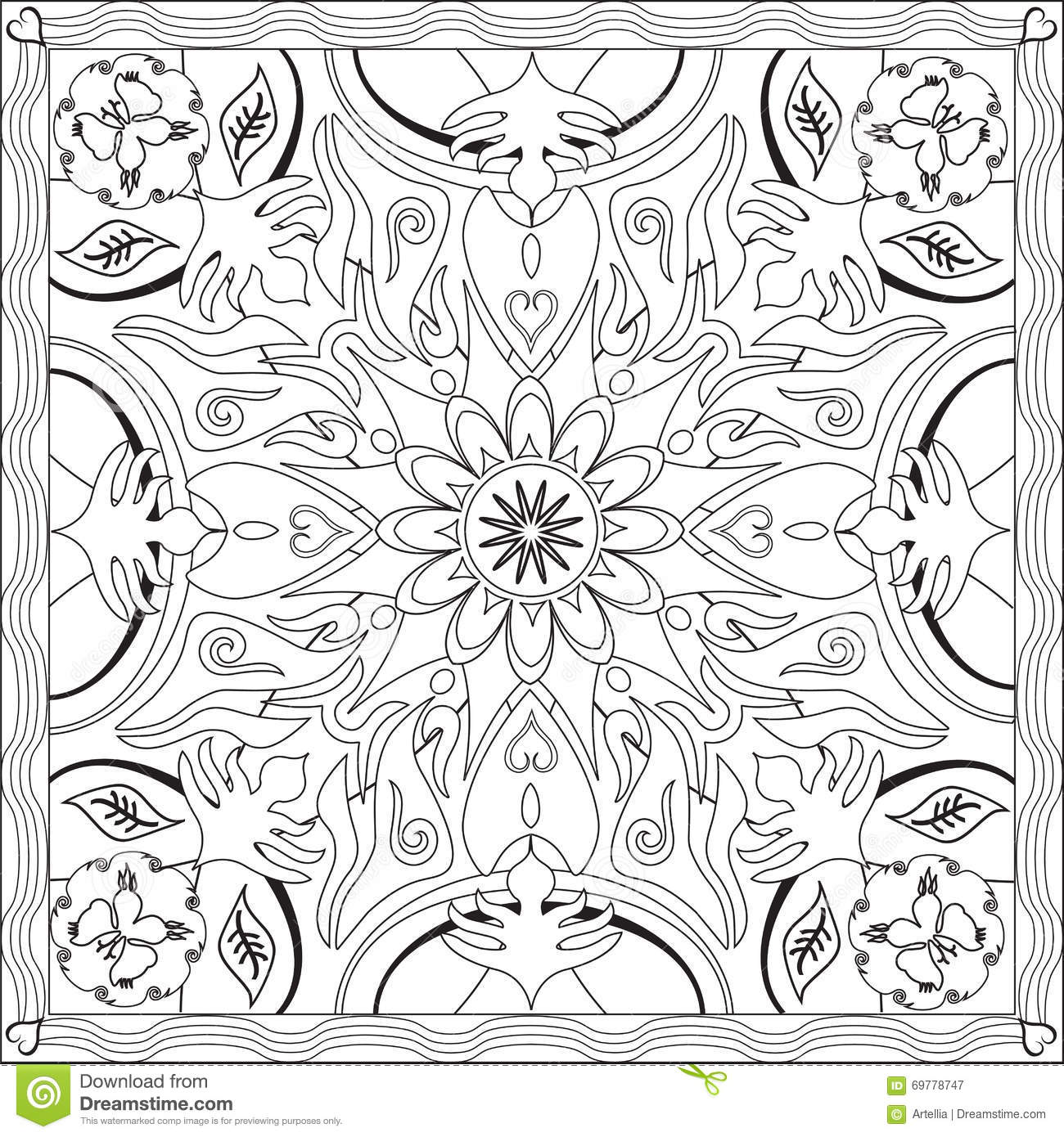 Coloring Page Book For Adults Square Format Mandala Flower Design ...