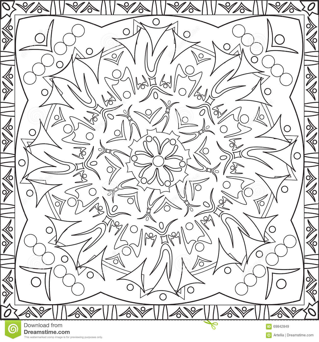 Coloring Page Book For Adults Square Format Silhouette