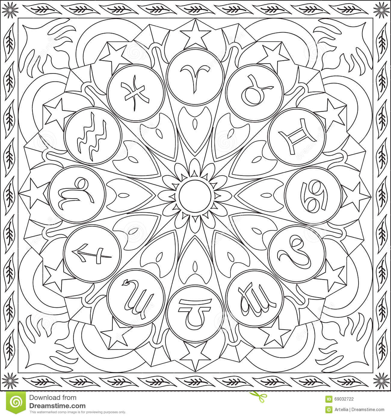 Coloring Page Book For Adults Square Format Zodiac Signs Wheel
