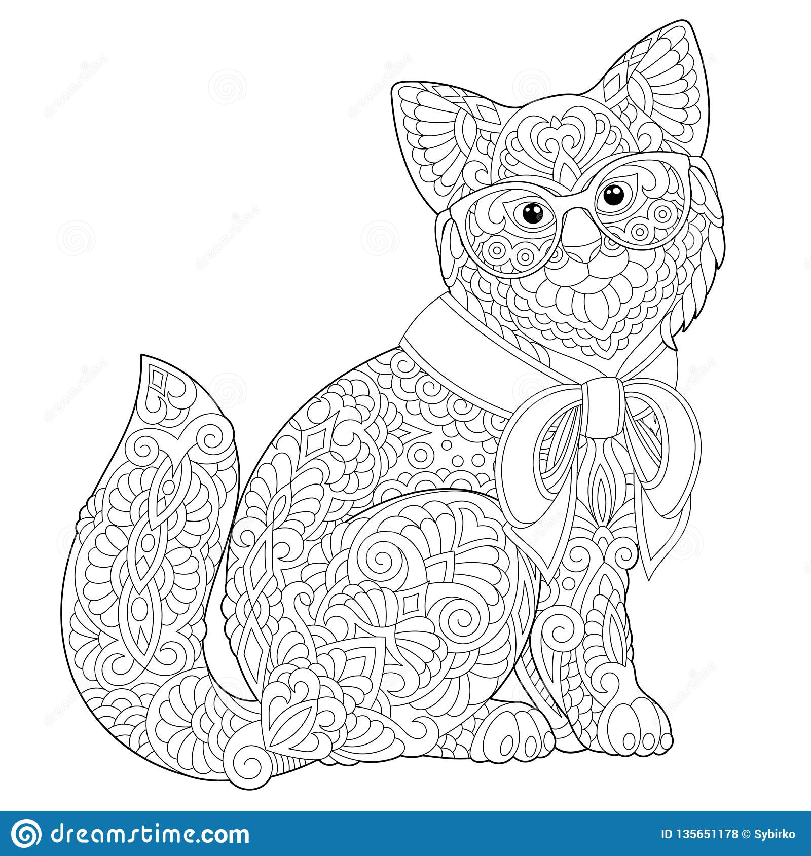 Zentangle Cat Coloring Page Stock Vector - Illustration of black ...