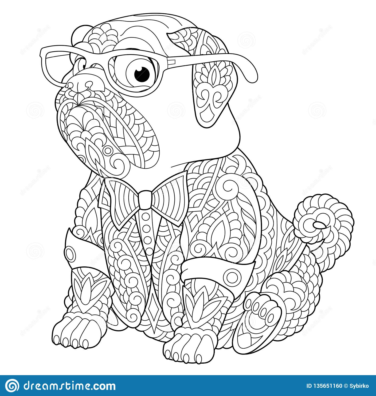 Zentangle Pug Dog Coloring Page Stock Vector Illustration