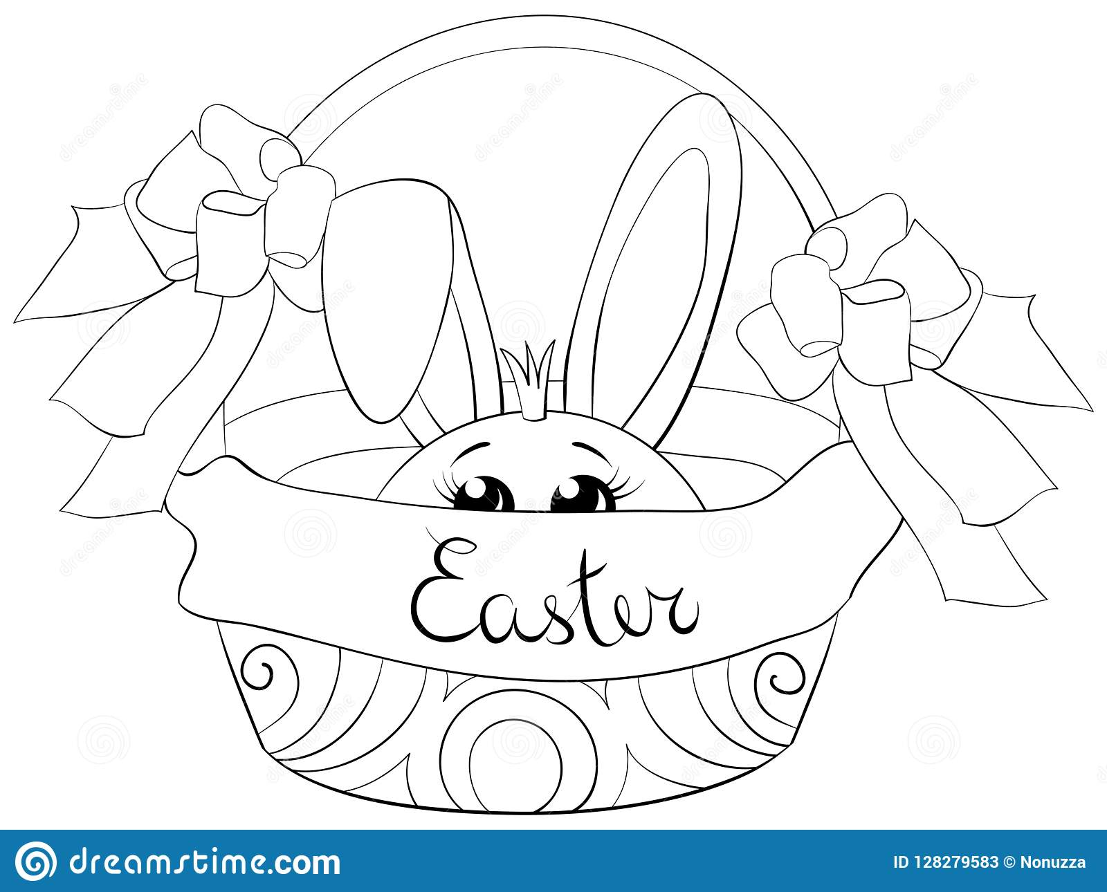 Coloring Page,book A Cute Bunny In The Basket Image For ...