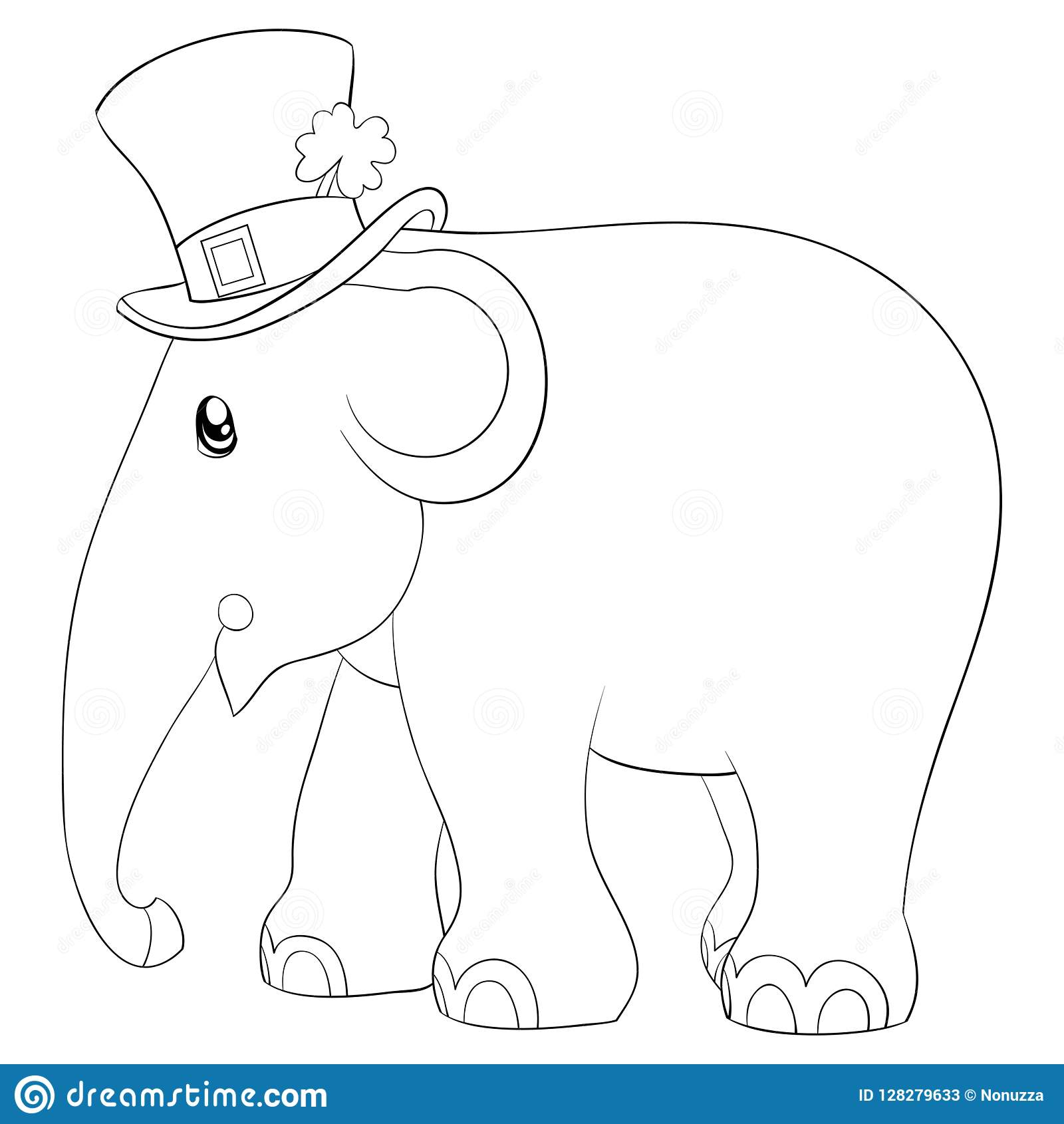 Coloring Page Book A Cute Elephant Image For Children Line Art