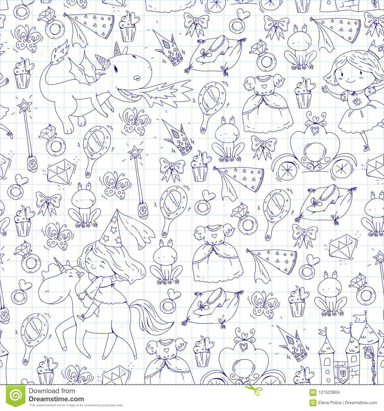 coloring page book cute little princess unicorn dragon castle girl dress magic wand fairy tale icons crown frog
