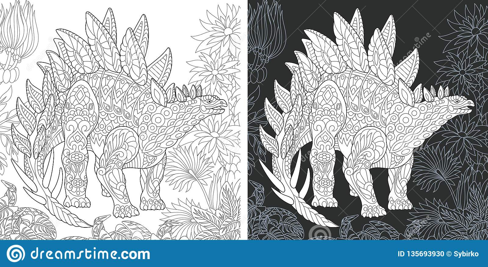 Coloring Pages With Stegosaurus Stock Vector Illustration Of Chalkboard Coloring 135693930