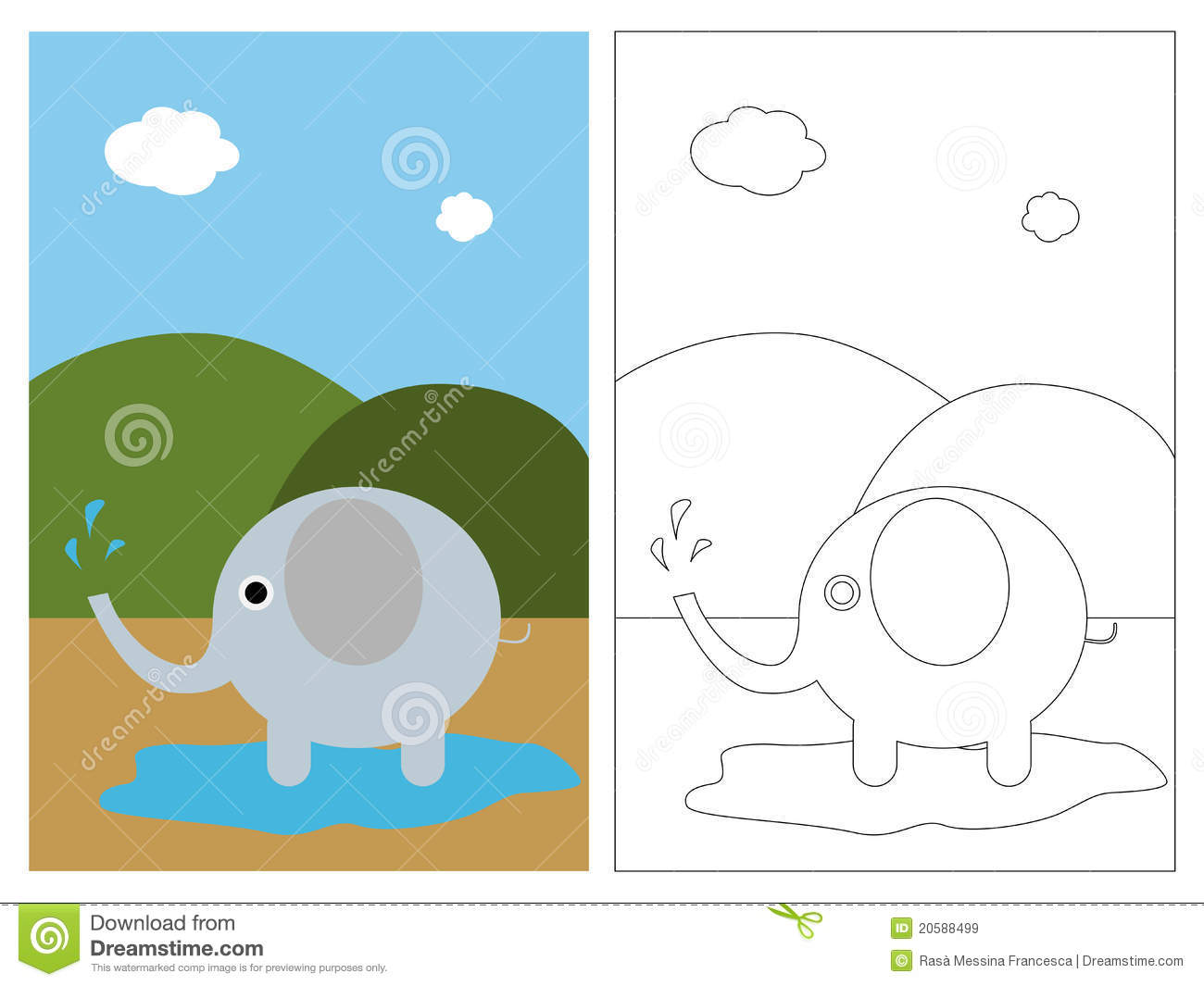 Coloring page book - elephant