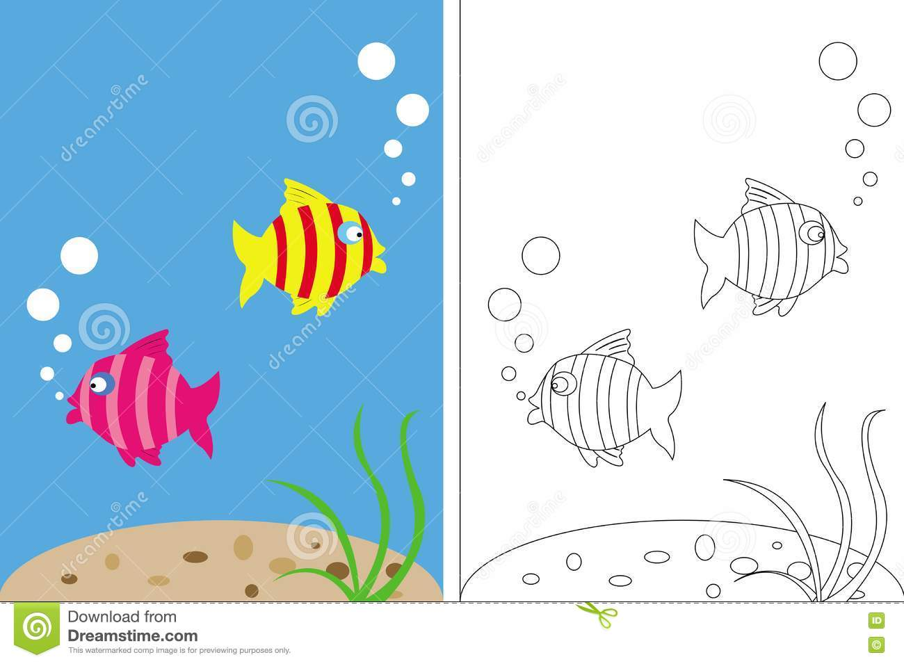 Coloring page book with fish underwater stock vector for Colorful fish book