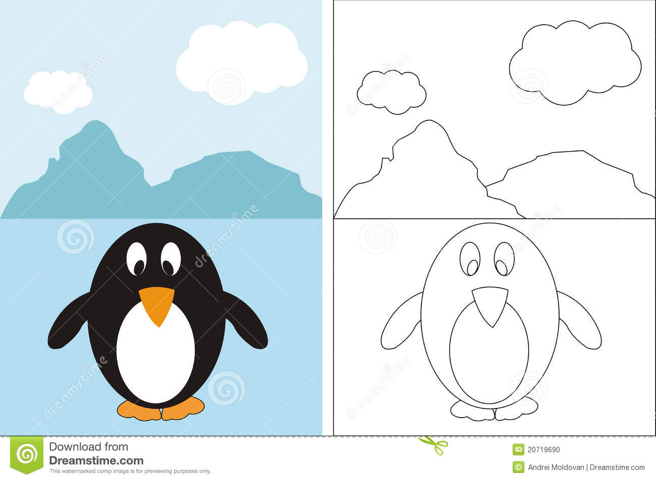 Coloring Page Book With Funny Penguin