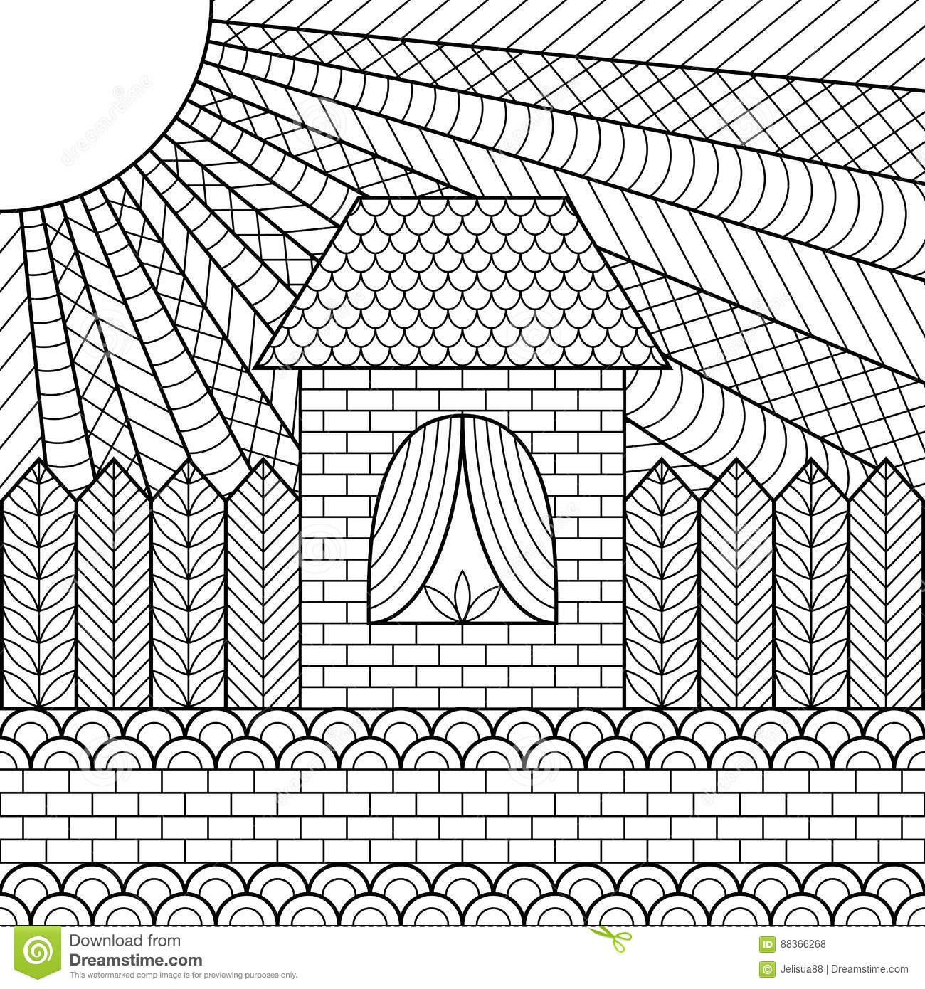 Download Coloring Page Book House Stock Vector Illustration Of Cottage