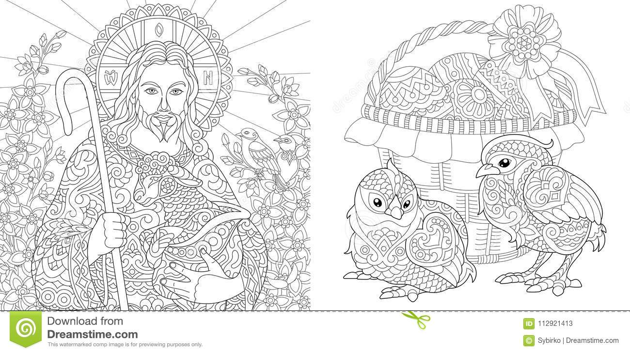 Download Zentangle Easter Coloring Collection Stock Vector
