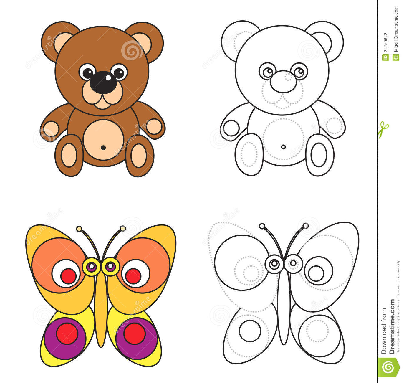 coloring page book for kids bear and butterfly stock photography