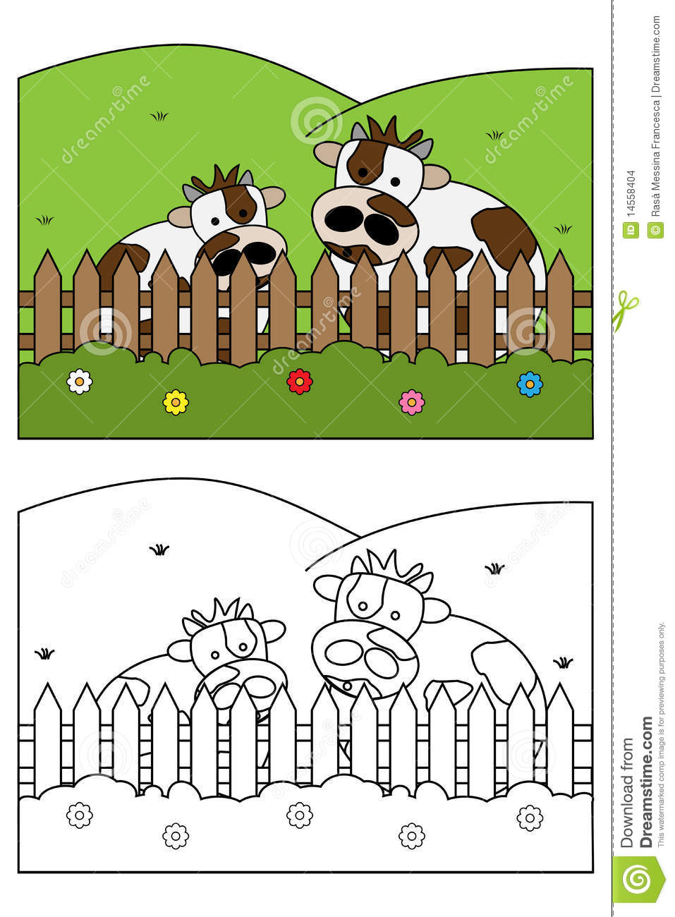 Coloring Page Book For Kids - Cow Stock Vector - Illustration of ...