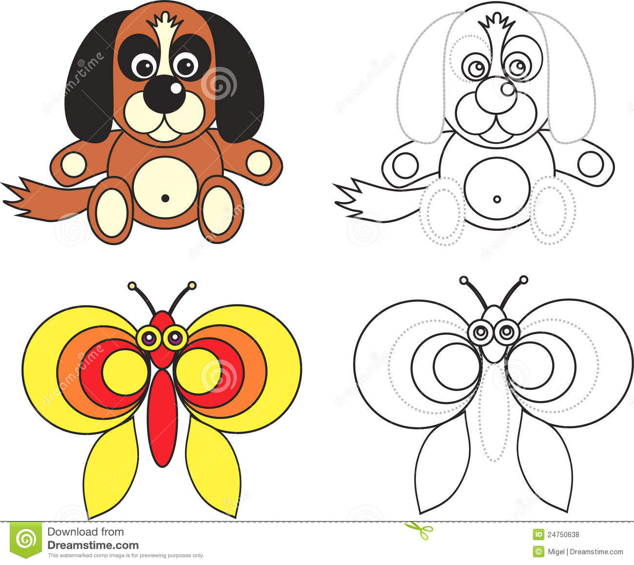 Coloring page book for kids - dog and butterfly