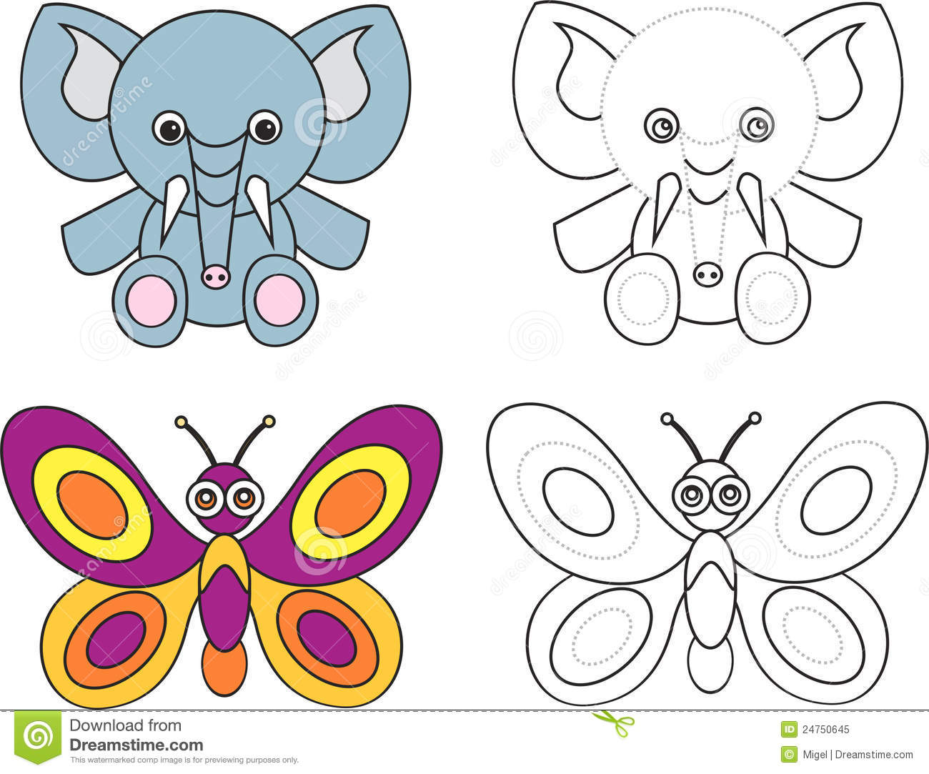 Coloring Page Book For Kids Elephant Butterfly Stock Vector