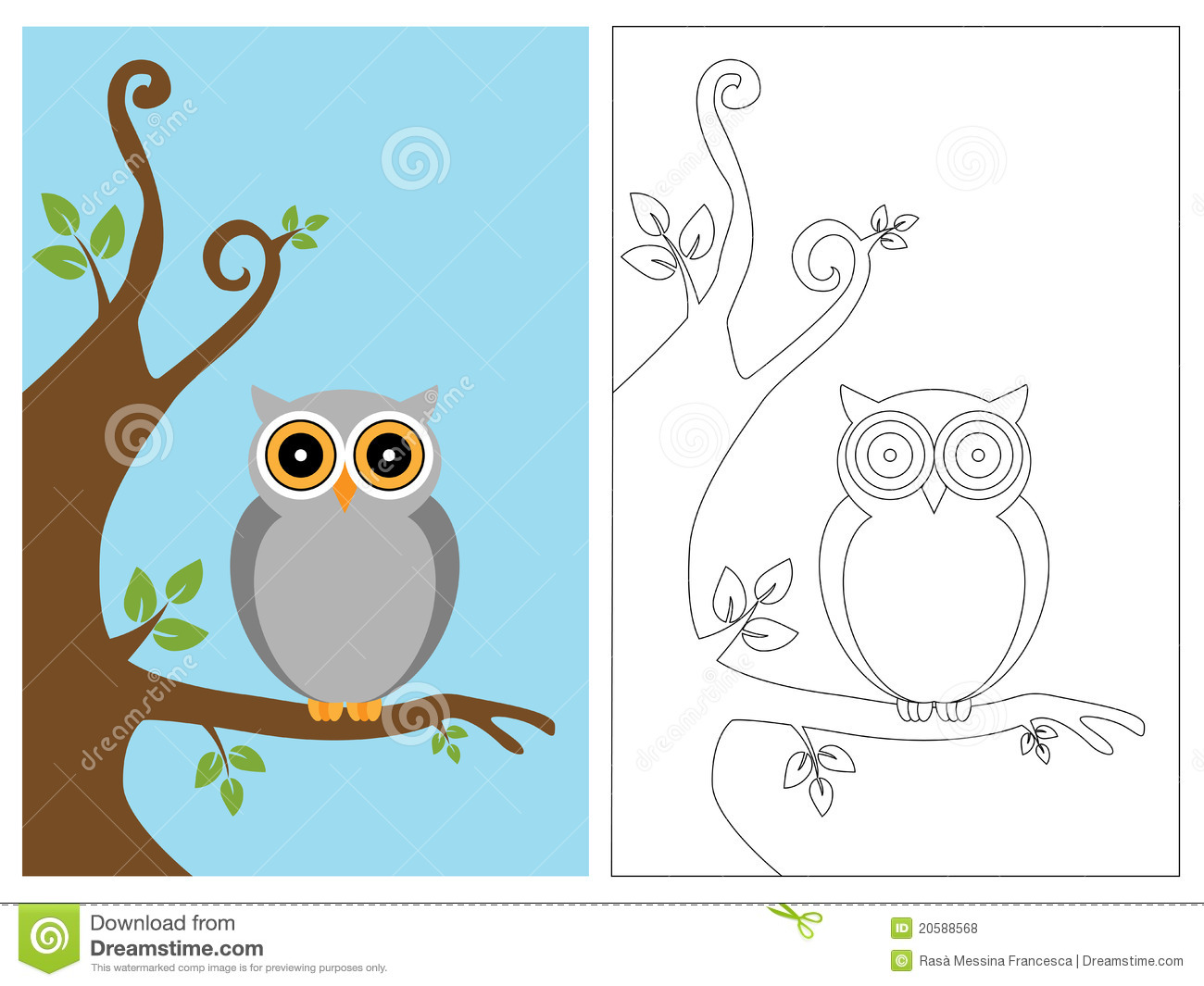 Coloring Page Book Owl Stock Vector Illustration Of Drawing