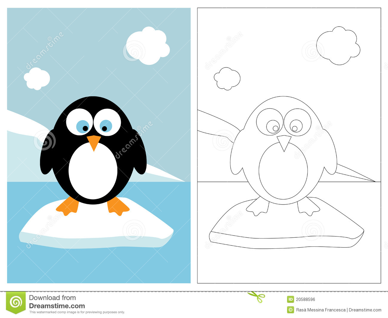 Coloring Page Book Penguin Royalty Free Stock Image