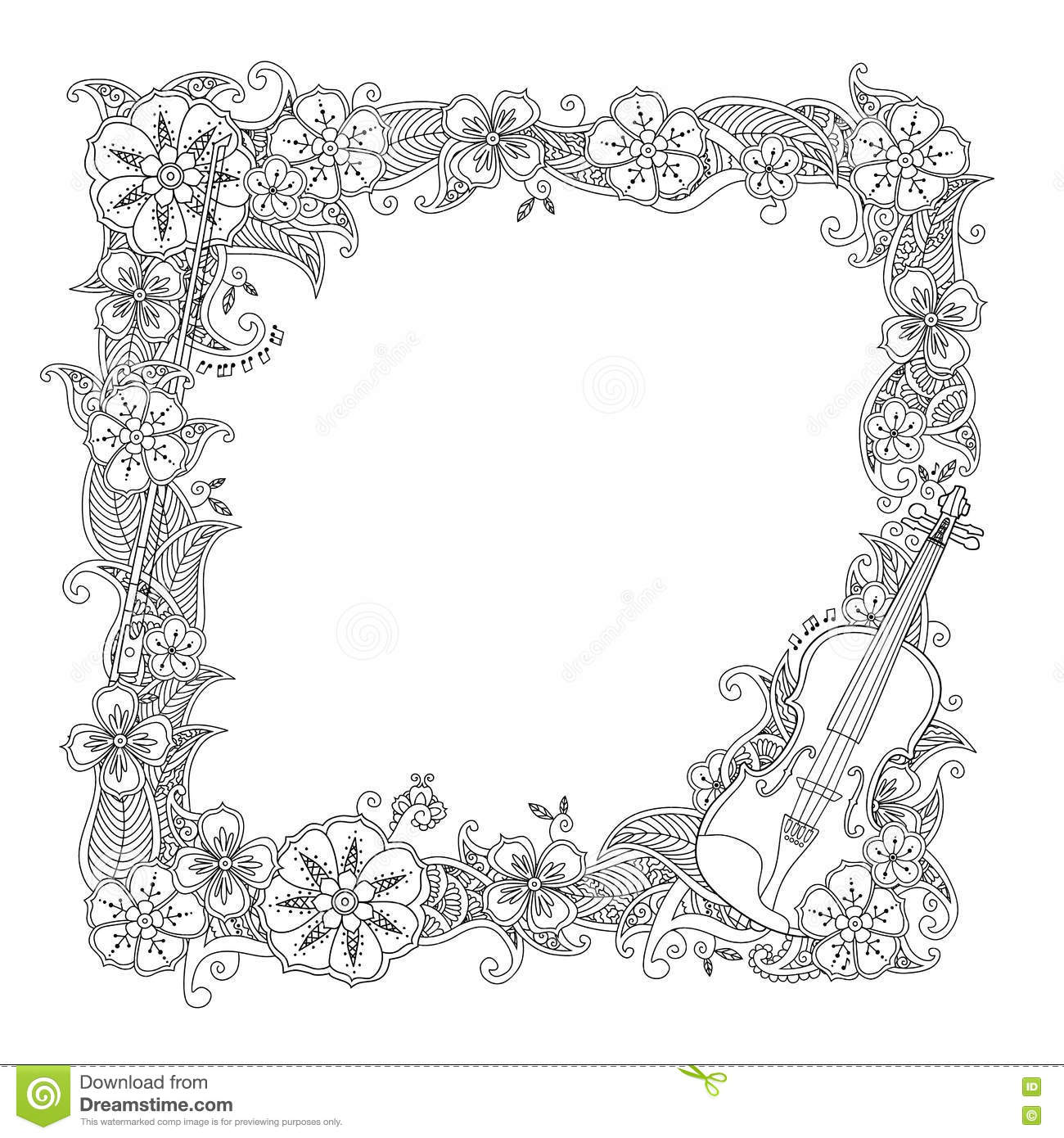 Coloring Page - Border, Square Frame With Violin Isolated On White ...