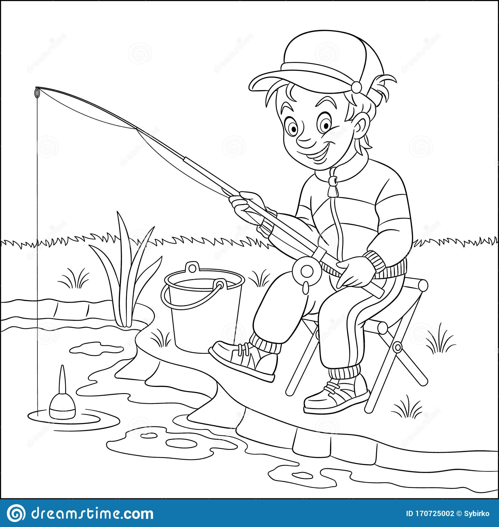 Coloring Page With Boy Fishing Stock Vector - Illustration ...