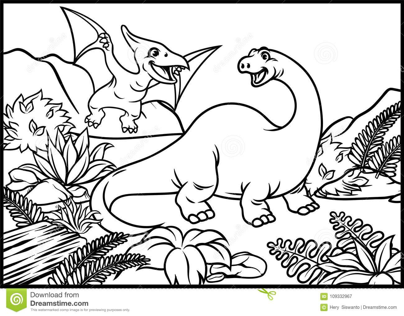 Coloring Page Of Brontosaurus And Pterodactyl Stock Vector ...