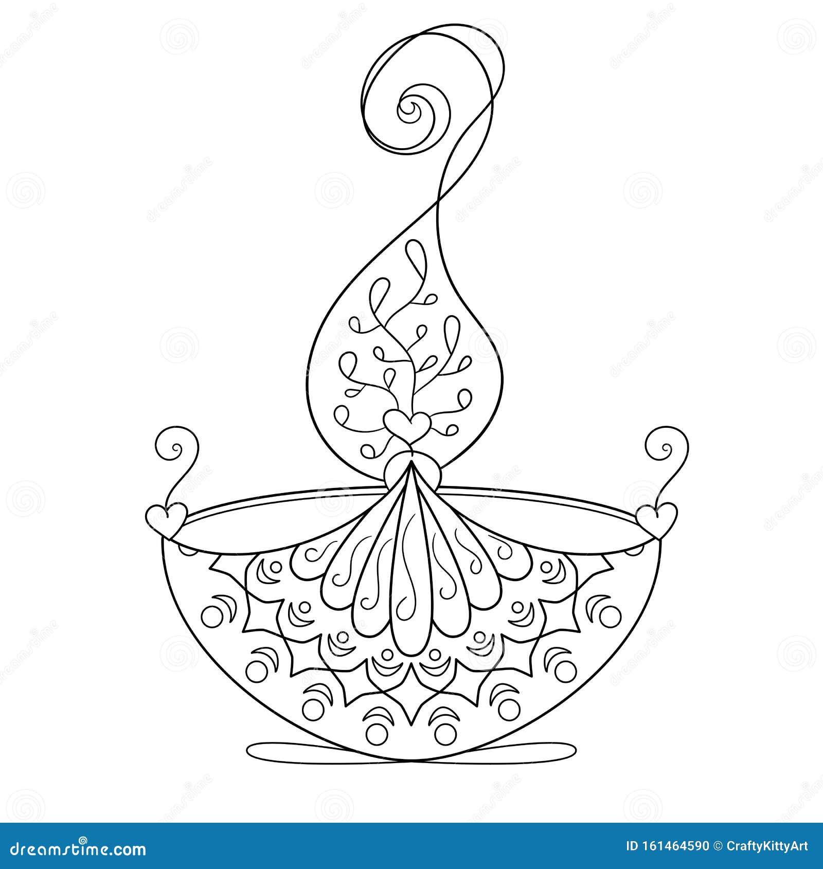Coloring Page With Burning Diya Diwali Light Stock Vector ...