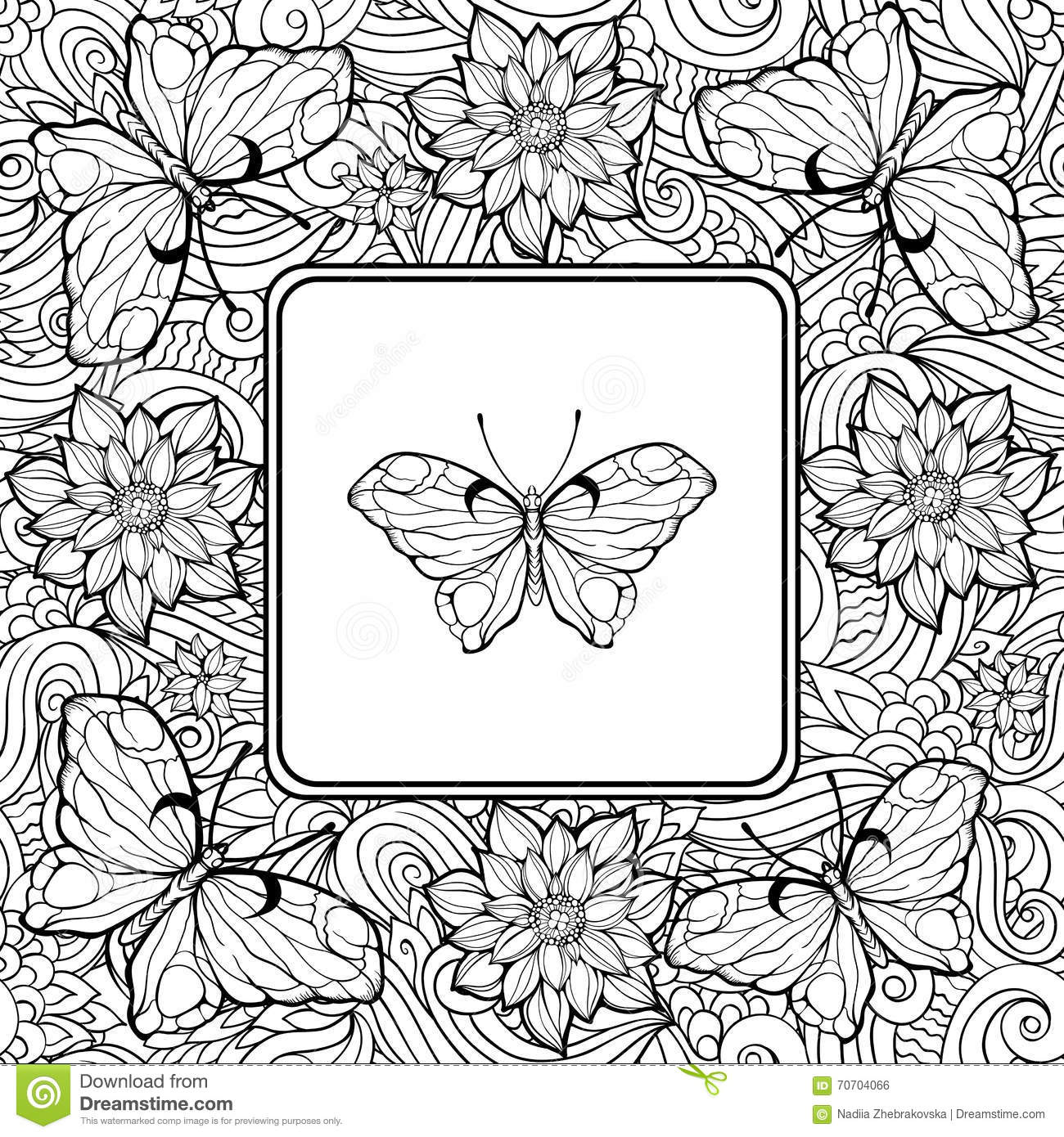 Coloring Page With Butterfly In The Center And Pattern Of Flower ...